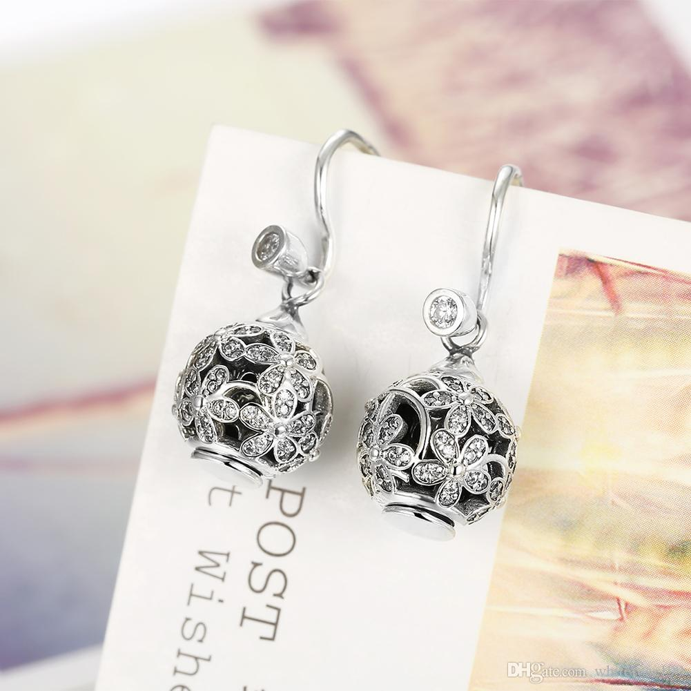 Wholesale - Retail lowest prices Christmas Present, New 925 Silver Fashion DIY525 Sterling Silver Pendants Diamond Earrings E