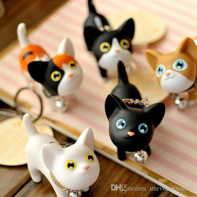 Fashion Cute Cartoon Cat Pendant Key Rings Kitten Cat Key Chain Shake Head Bell Car Bag Keychains Creative