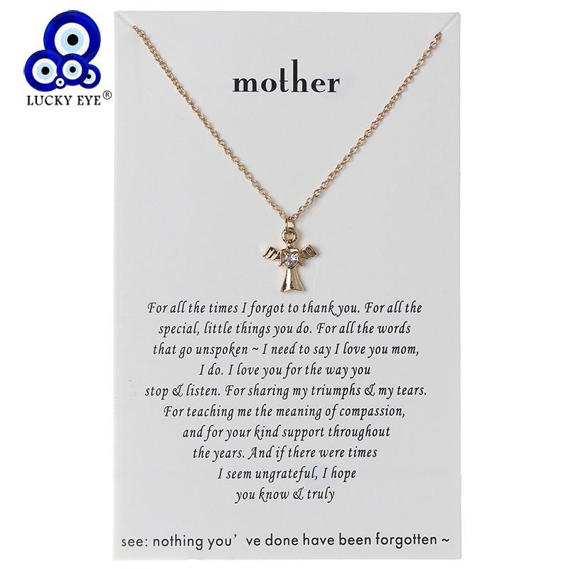 da112652e5b4 Compre Lucky Eye Angel Charms Necklace Wish Letters Gargantilla Collar Oro  Plata Enlace Cadena Para Mujeres Joyería CN71 A  18.87 Del Fotiaoqia