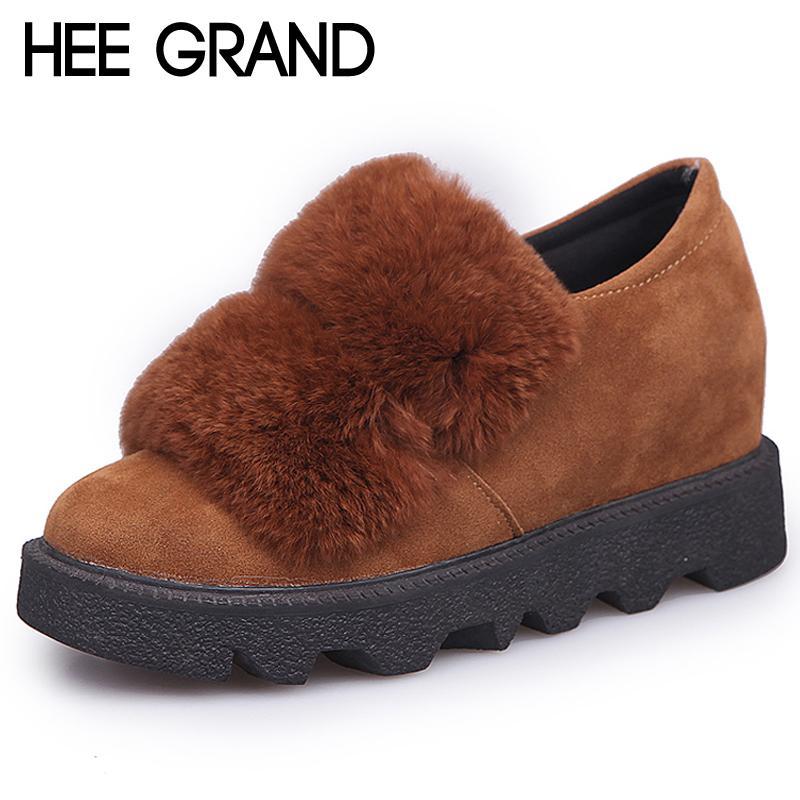 vendita all'ingrosso Pelliccia sintetica in pelle scamosciata stivali da neve scarpe rampicanti piattaforma scarpe casual donna inverno caldo