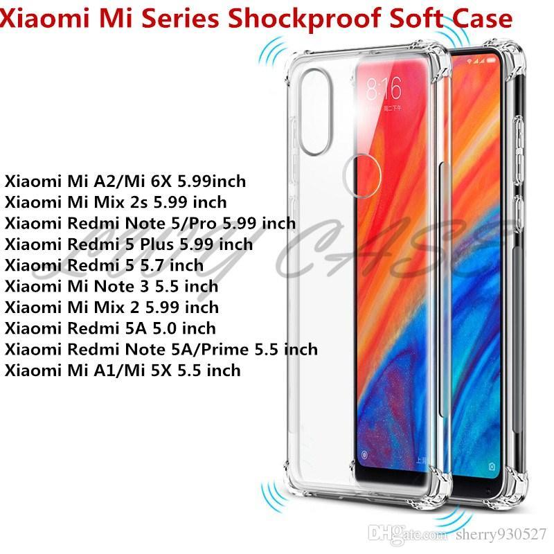 premium selection e3531 15abb For Xiaomi Mi A2 A1 Mix 2s Redmi Note 5 Pro Redmi 5 Plus Mix 2 Redmi Note  5A Prime Transparent Anti-knock Clear Shockproof Soft TPU Case