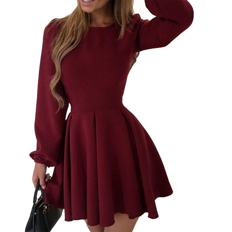 Acquista 2018 Autunno Abiti Donna Puff Sleeve Party Dress Femme Sexy O Collo  Vintage Elegante Abito Nero Tinta Unita Abito Ufficio M0115 A  33.24 Dal ... 1dff6cd3869