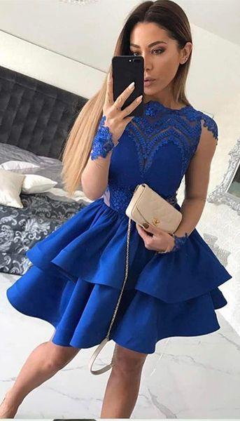 2019 Sexy Royal Blue Cocktailkleider Modest Jewel Neck Applique Long Sleeves Zipper Kurzes Abendkleid Fashion Woman Party Dress