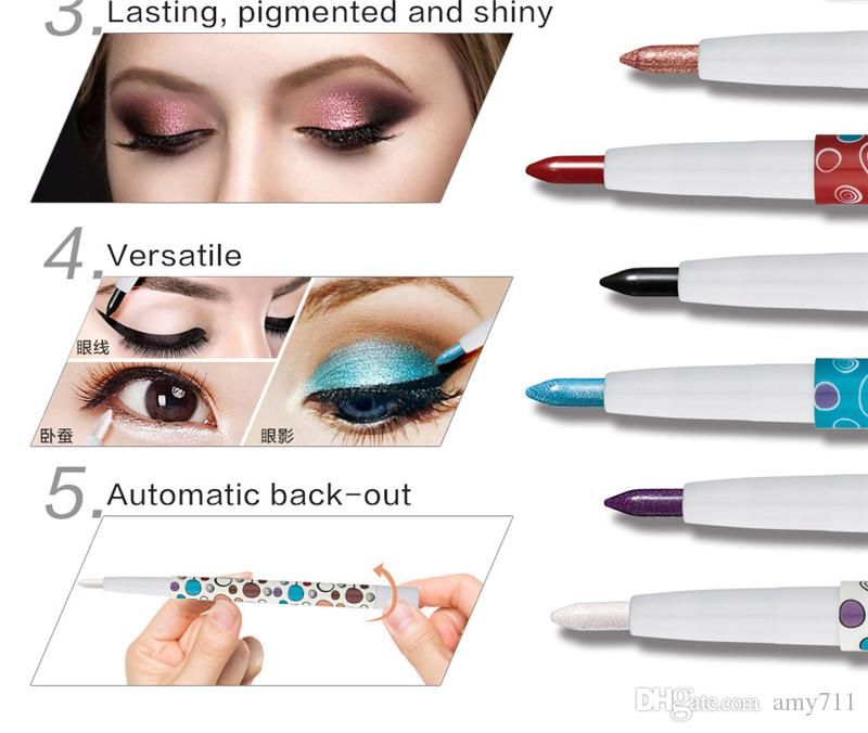 New China Brand HUAMIANLI Makeup Glittery Eye Shadow Pencil Shimmer Eyeshadow Stick Pen Versatile Rotating Waterproof DHL