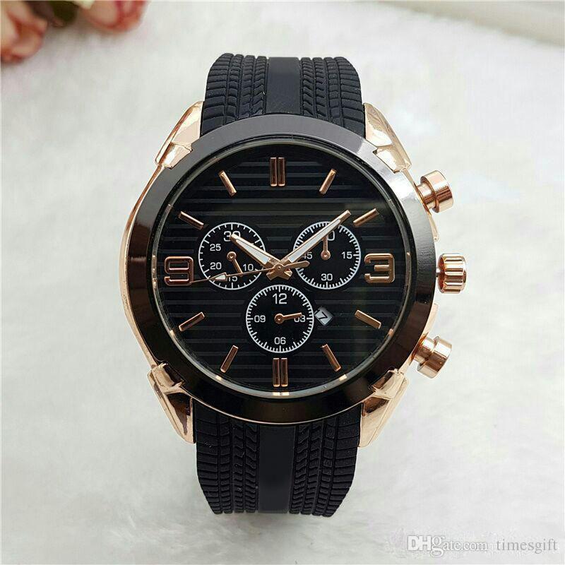 2018 Новая Мода Авто Дата Часы Мужчины Известные Мужские Часы Кварцевые Золотые Наручные Часы Черный Силиконовый Ремешок Розовое Золото Relogio Masculino