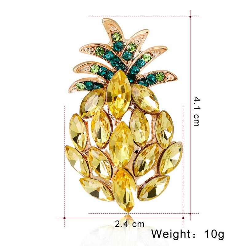 Crystal Pins and Pineapple Brooches for Women Gold Fruit Pendant Brooch L Pin Party Wedding Fashion Jewelry