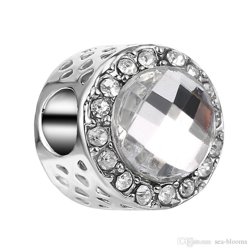 De calidad superior de plata corazón de mar forma redonda color de la mezcla del encanto de los granos flojos cupo la pulsera collar envío gratis D697S