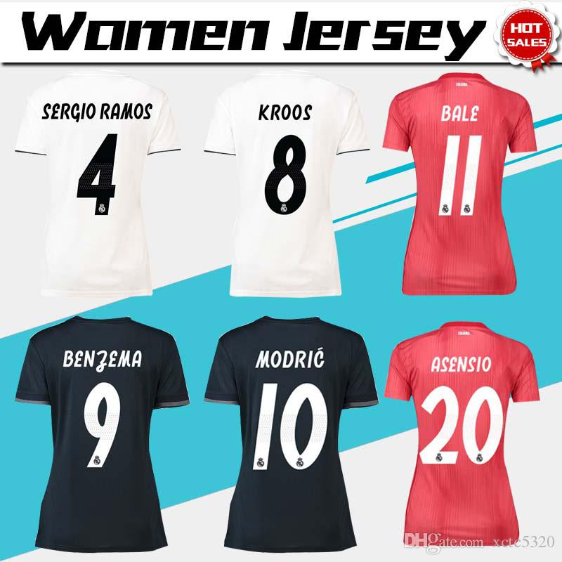 online store 93d7d 2f2a8 Women ISCO Real Madrid home white Soccer Jerseys 18 19 Real Madrid Women  away soccer Shirts 2019 lady 3rd red Football uniforms ASENSIO girl