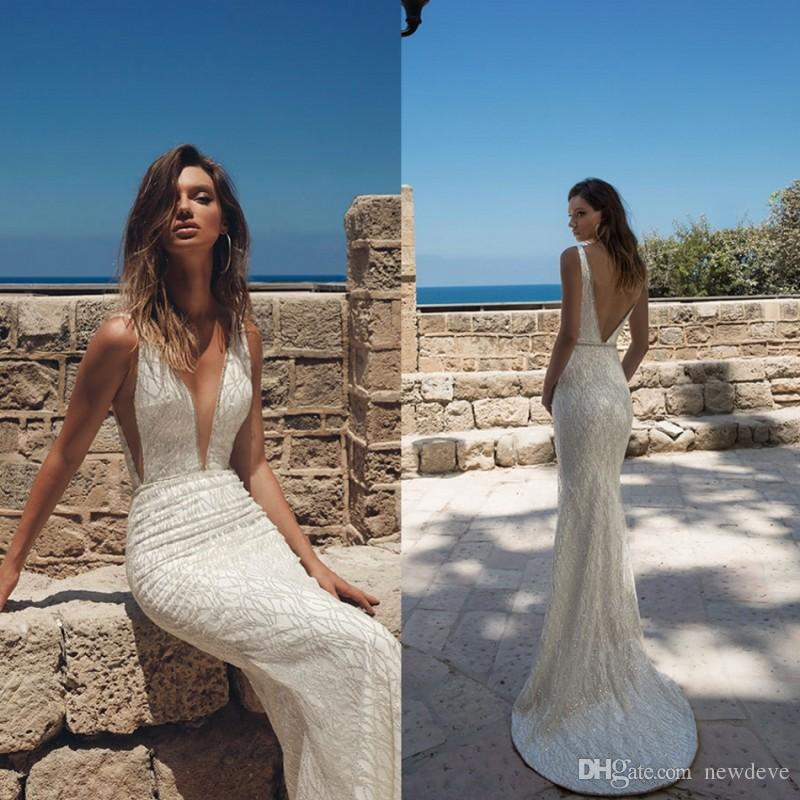 Sexy Deep V Neck Beach Wedding Dresses Mermaid Julie Vino Robe De Mariee Backless Bling Bling Sequined Wedding Dress Bridal Gowns