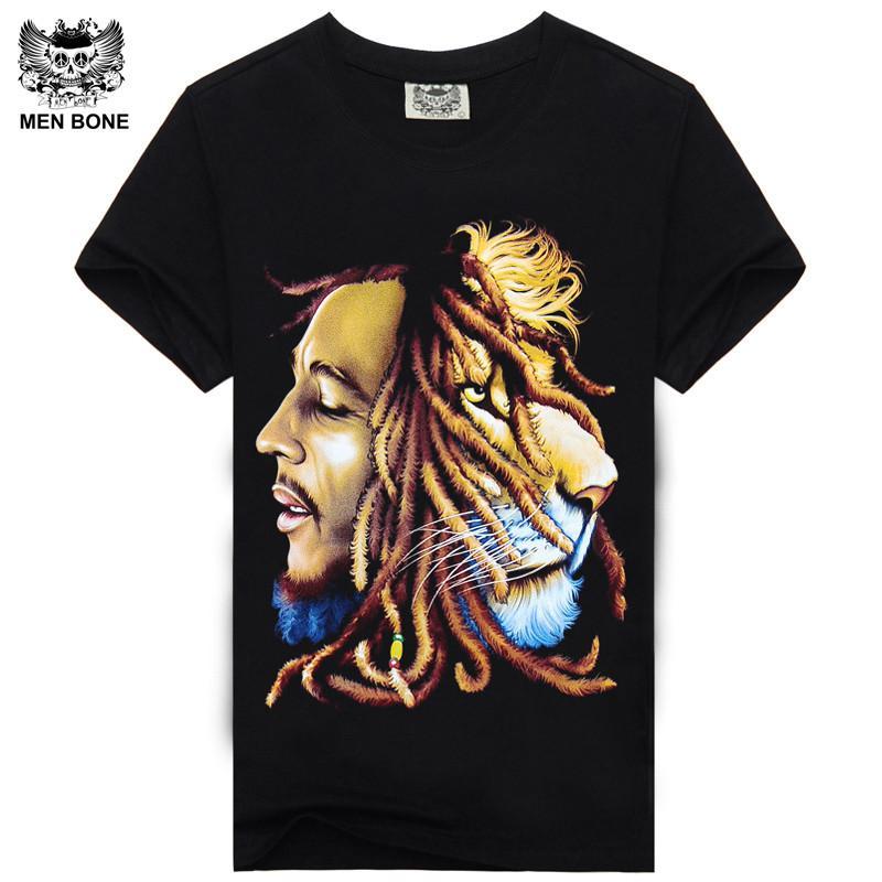 2015 High Quality Bob Marley T Shirts Trend Print Custom Reggea Design For Man Tees Vintage Rock T Shirts Long For Freedom