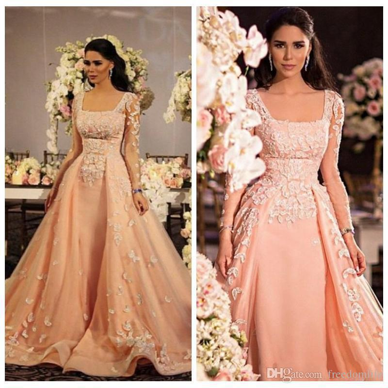 Arabic Indian Long Sleeves Prom Dresses for Women Lace Applique Formal Evening Dressess Square Zipper Plus Size Party Gowns
