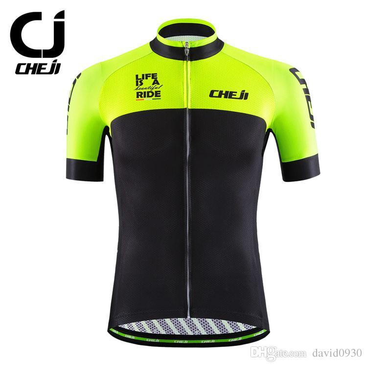 b35c7bd6c 2018 CHEJI Pro Cycling Jersey Breathable Bike Jersey BIB Short Set Sport  Shirts Custom Men Cycling Wear Black Green Cycling Clothing Cycling Clothing  Uk ...