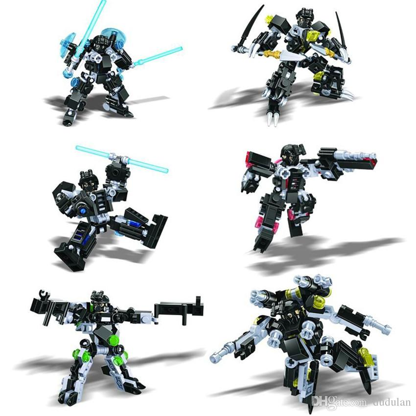 Hsanhe future police series Pioneer Mech Warrior building blocks Set Bricks DIY assembly Educational Mini Robot Toy #2510A