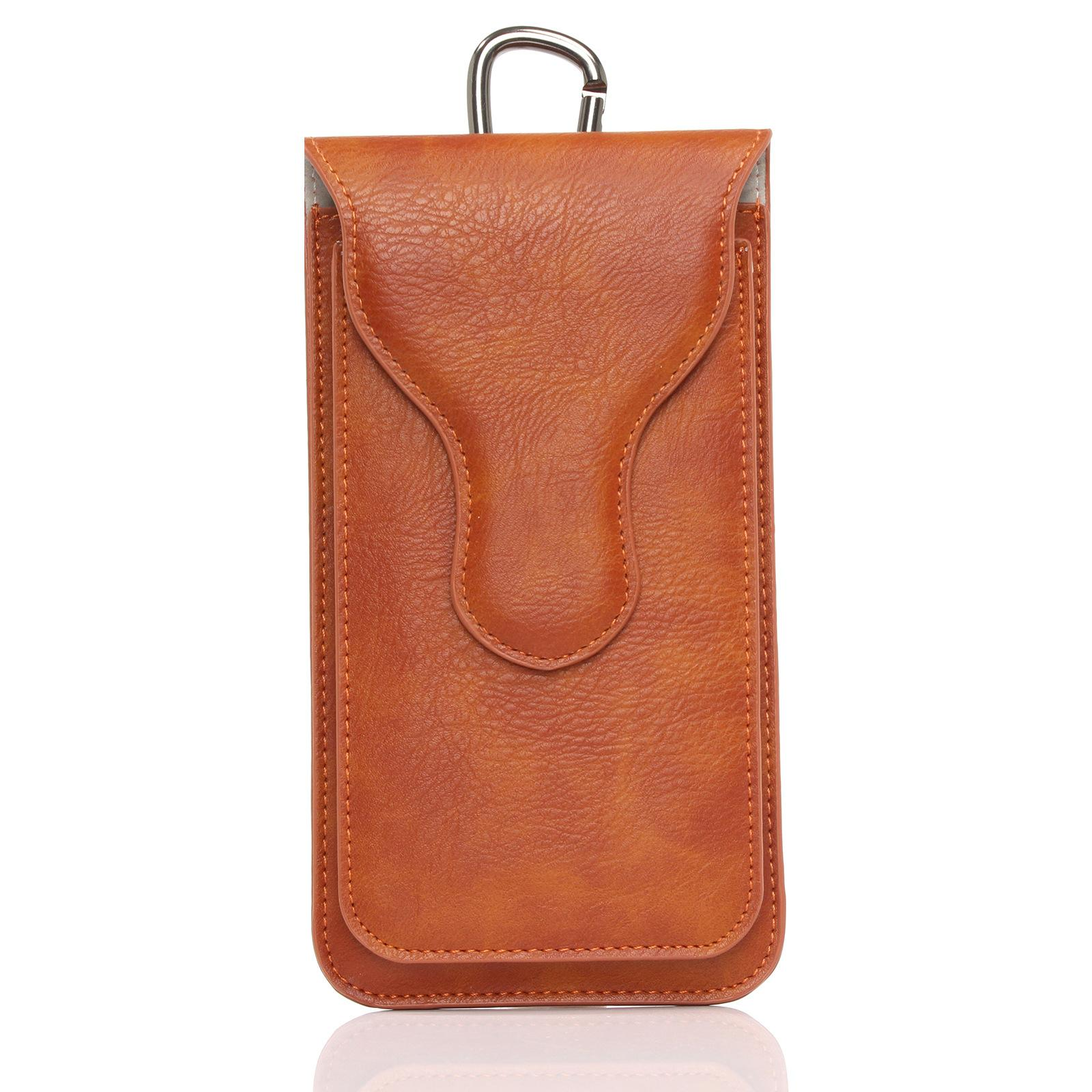 High Quality PU Leather Case Belt Clip Pouch for iPhone 8 7 Plus 6 6s Plus Phone Case Holster Man Waist Bag Card Slot Dual Layer
