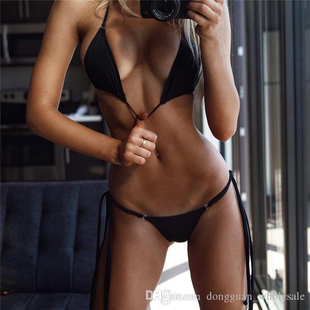 a095fd618fe9f 2019 Newest Bikini Swimwear Women Swimsuit Bathing Suit Bikini Set 2018  Thong Bottom Vintage Solid Female Beachwear With Pad From  Dongguan_wholesale, ...