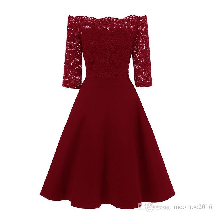Vente chaude de l'épaule dentelle Robe femme élégante Vintage Hallow Robe sexy en dentelle Princesse Party Slim Robes d'été Robes Rouge Bleu