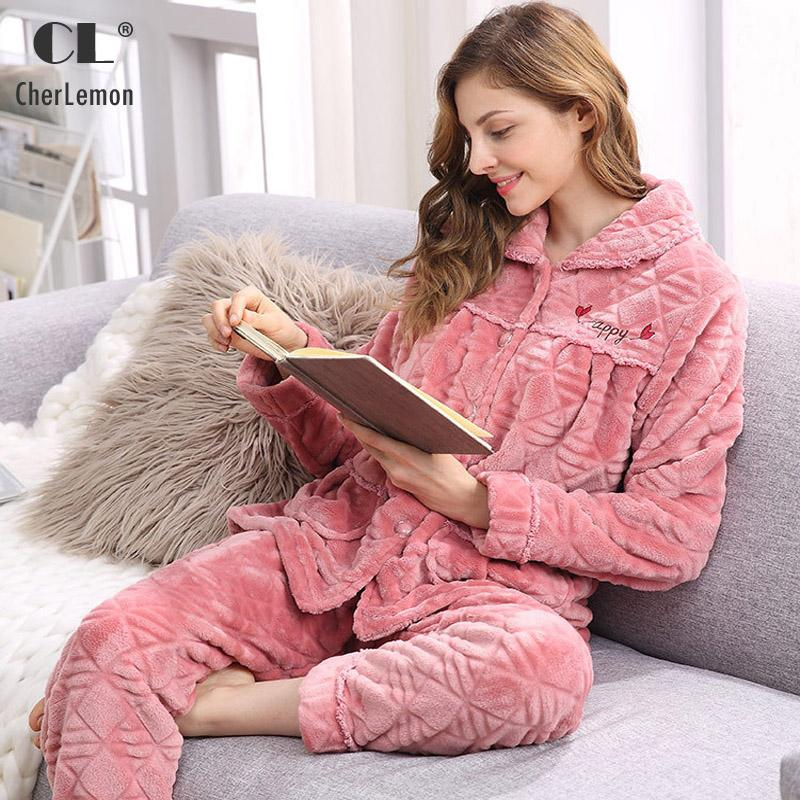 5504123f1b24 2019 CherLemon Women Warm Cozy Flannel Pajamas Winter Long Sleeves Homewear  Ladies Super Soft Sleep Lounge Suit High Quality From Seein