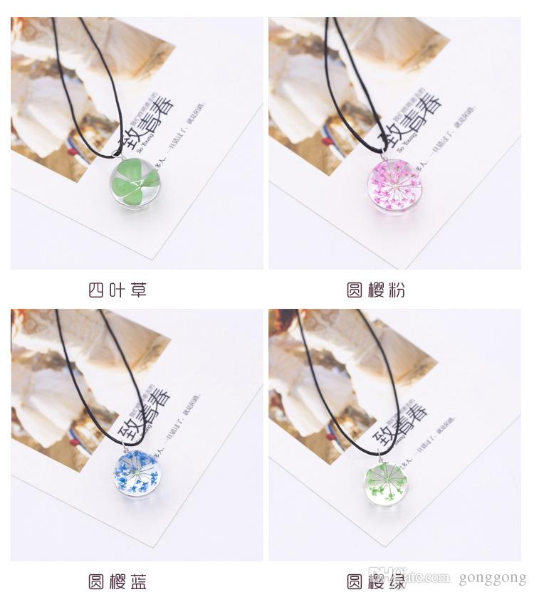 New Glass Ball Delicate Pendant Necklace Jewelry Women Romantic Beauty Dry Flowers For Pretty Girls Gift