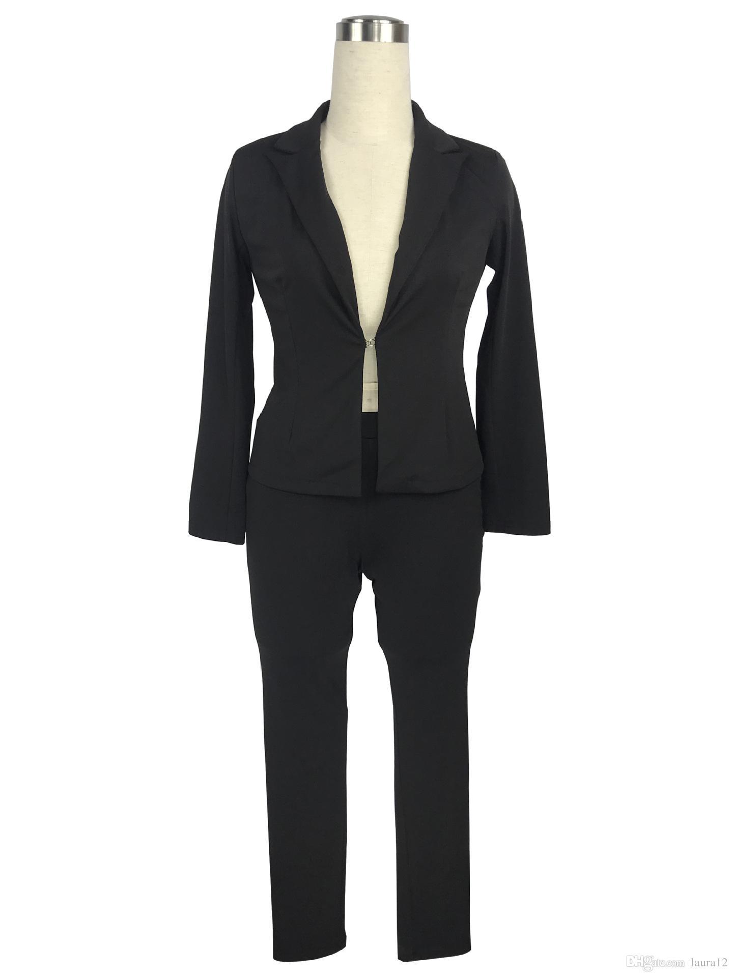 Hot Sale Elegant Women Pants Suits 2018 Spring Autumn Long Sleeve Lapel Neck Jacket and Pants Sets OL Women Coat Blazers Suits