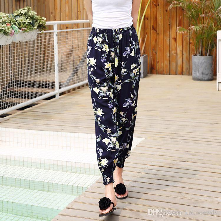 7f1ece5fb8 2019 NEW FASHION PANTS LOOSE 2019 WOMEN SUMMER DESIGNER BEACH PRINT  BLOOMERS ETHNIC STYLE HAREM TROUSERS PLUS SIZE AN TI MOSQUITO TROUSERS From  Kokonewdv, ...