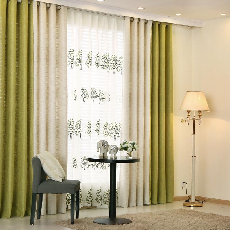 {byetee} Rideaux modernes pour salon Beige vert Couture Cortinas Rideaux  occultants pour chambre à coucher