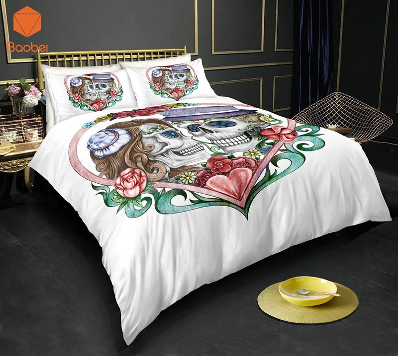 3Pcs 3D Sugar Flowers Heart Skull Bedding Set Pillowcases Duvet Cover Quilt Cover For Kids Queen King Sizes Bedspreads Sj234