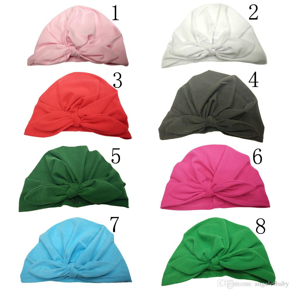 1-6 year Baby hat Soft bowknot candy color Baby Girls Caps Cotton Beanie Infant Spring Hat MZ32