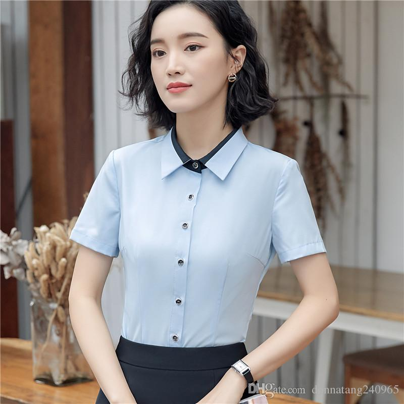 4999df31737ef6 New Elegant Shirt Women Summer Fashion Formal Short Sleeve Slim Business  Blouses Office Ladies Work Wear Plus Size Tops 4XL Canada 2019 From  Donnatang240965 ...