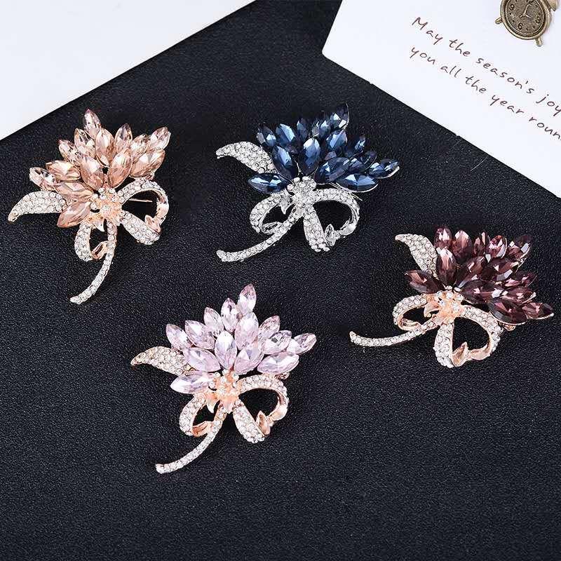 53b7b711d4 MISANANRYNE Crystal Flower Brooch Lapel Pin Fashion Rhinestone Jewelry  Women Wedding Hijab Pins Large Brooches For Women