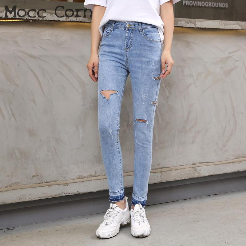 e0fe95bf5631b 2019 Mocc Corn Summer Cotton Distressed Hole Ripped Jeans Torn Stretch Skinny  Pencil Jean Slim Femme Denim Trousers Women Black Blue From Smotthwatch