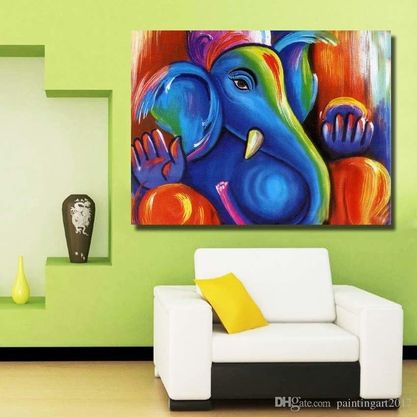 Canvas Art 100% Handmade Oil Painting on Canvas Wall Abstract animal Cute Baby Elephant Picture Living Room Home Decoration