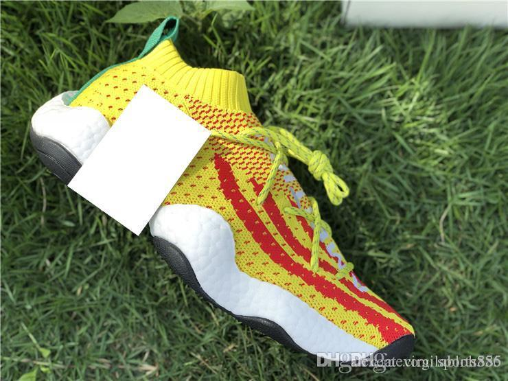 Online 2018 AAA+ Quality Crazy BYW LVL 1 Pharrell Primeknit Running  Sneakers for Men Women Yellow White Red Green with Box 36-45 Pharrell Crazy  BYW Running ... 65593386e