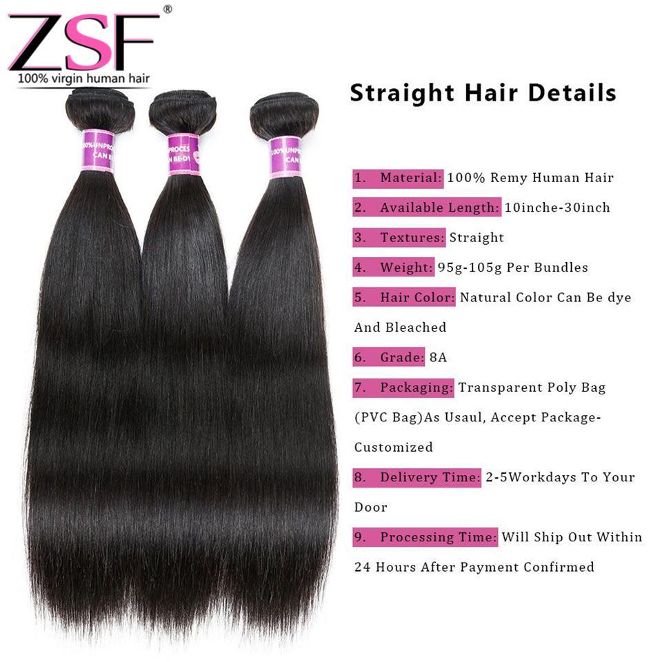 ZSF 4 Bundles de Cheveux Humains 8A 100% Non Transformés Brésiliens Extensions de Cheveux Vierges Droite Armure de Cheveux Humains