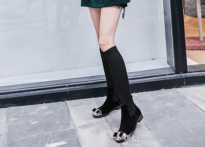 2018 Herbst Winter Elastische Socke Flache Schuhe Rote Bowknot Wolle Knie Stiefel Schwarz Laides Ritter Stiefel Runde Zehen Feste Flache Knie Stiefel