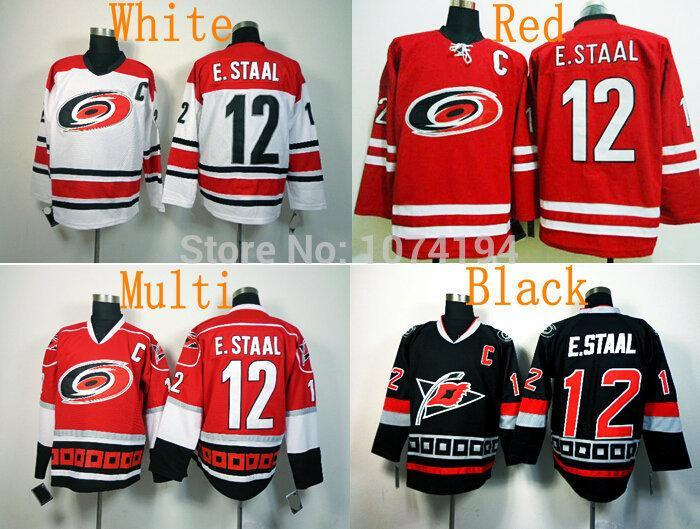2e16d4590 2019 Cheap Factory Outlet Mens Carolina Hurricanes  12 Eric Staal Home Red  White Black Hockey Jersey Top Quality Drop Shipping Wholesale Jerseys From  ...
