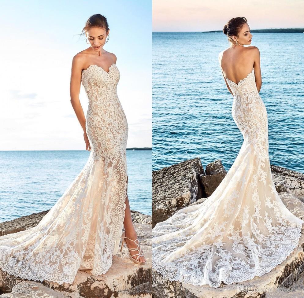Beach Champagne Wedding Dresses 2018 Summer Sweetheart Sleeveless ...