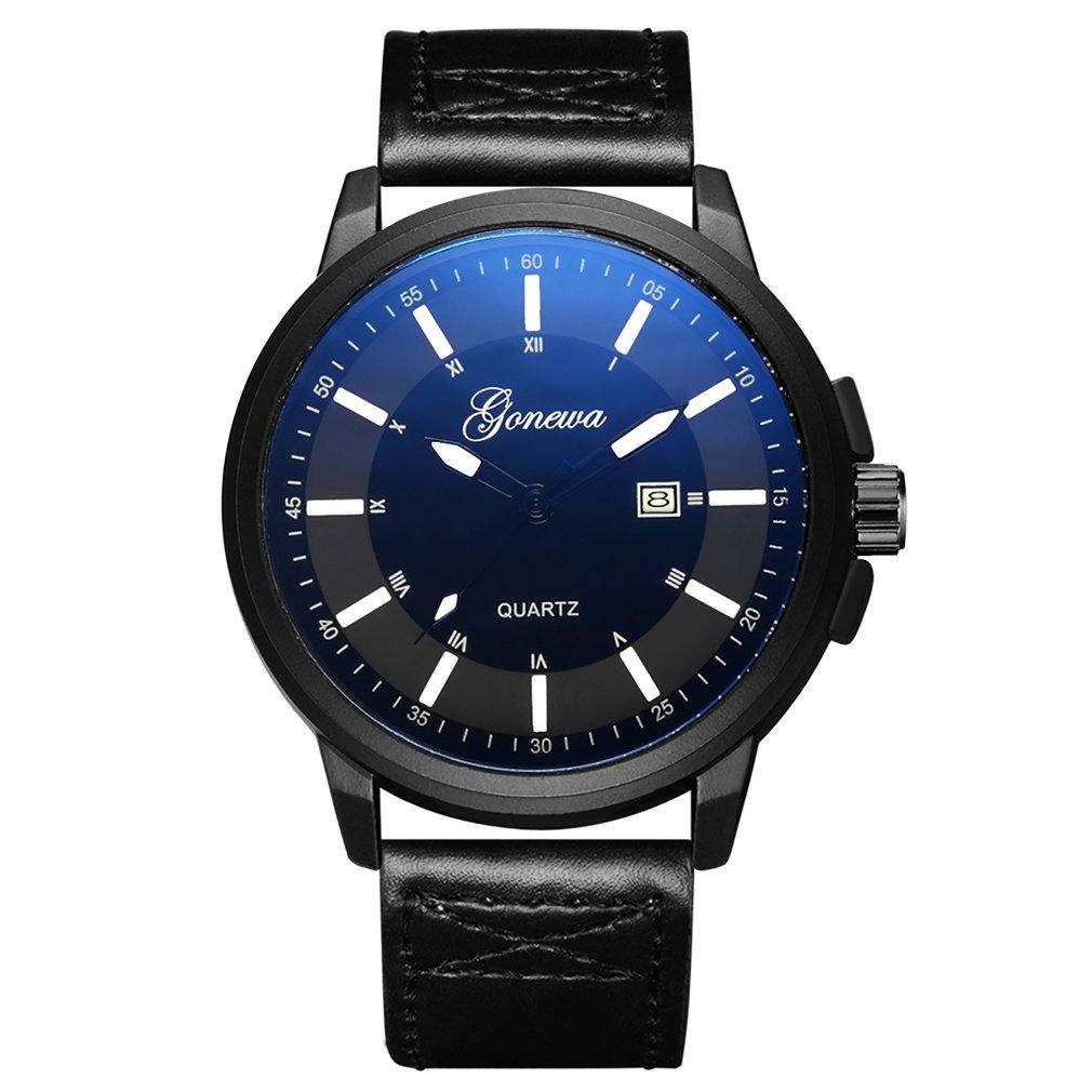 Casual Classic Blue Dial Fashion Leather Men Quartz Analog Wrist Watch Business relogio masculino 2018 For Businessman GIFTS