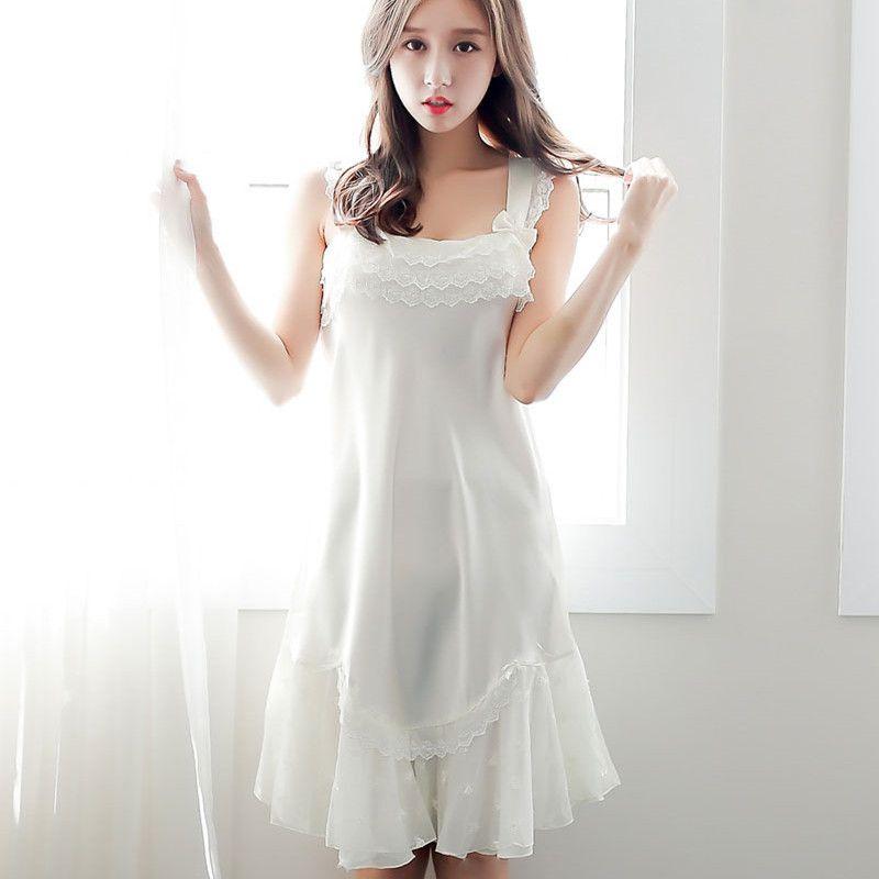 Summer Mini Sleeveless White Nightdress Sexy Sling Silk Princess Nightgown  Sexy Lace Lovely Sleep Shirts Women Sweet Dresses UK 2019 From Zhusa ccc9fd205