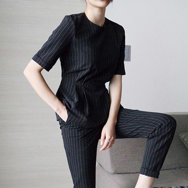 b3aecc0822 2019 2018 Summer European And American Fashion OL Professional Casual Suit  Slim Was Thin Short Sleeved Vertical Stripes Suit Female From Freea