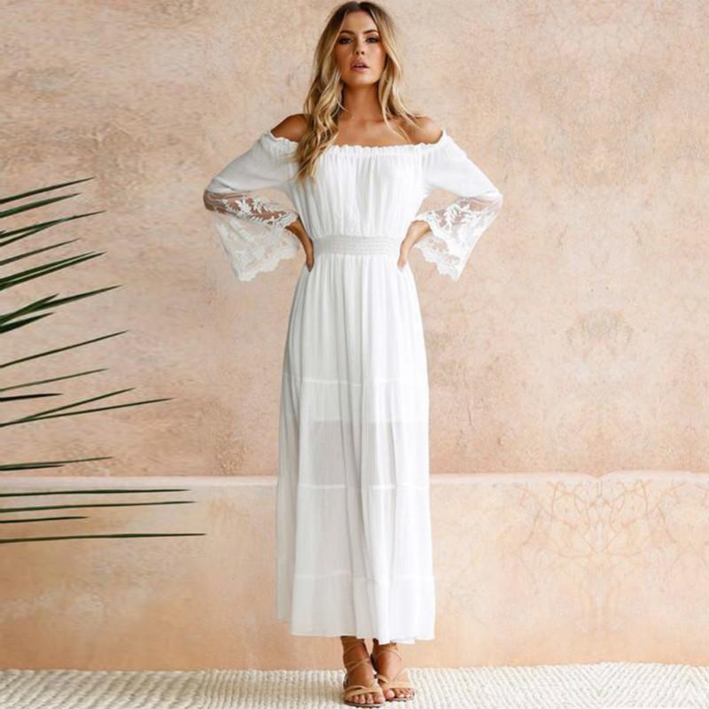 Großhandel Sommer Sommerkleid Lange Frauen Weiß Strandkleid Trägerlos  Langarm Lose Sexy Schulterfrei Spitze Boho Baumwolle Maxi Kleider Von  Bestshirt005, ... de5ac118a9