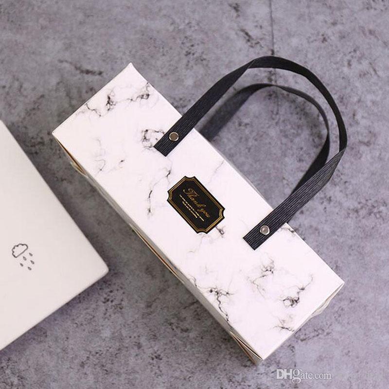 Коробка шикарной мраморной конструкции бумажная с коробкой хлебопекарни коробки торта ручки упаковывая 25*9.3*8.9 см бесплатная доставка ZA5708