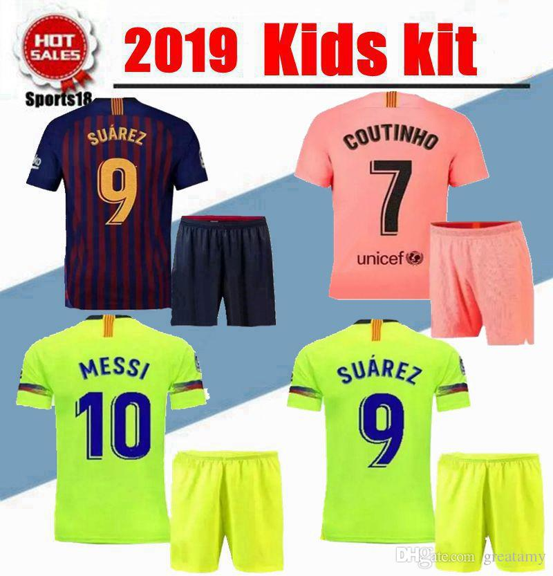 d1bdaa642 2019 2019 Kids Kit Third VIDAL MESSI SUAREZ Jersey Soccer Home Away 3rd  PIQUE INIESTA COUTINHO A.INIESTA Football Shirt Youth Boy Kit From  Greatamy