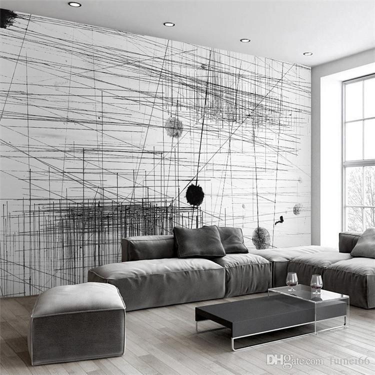 Grosshandel Benutzerdefinierte Wandbild Tapete Schwarz Weiss Streifen
