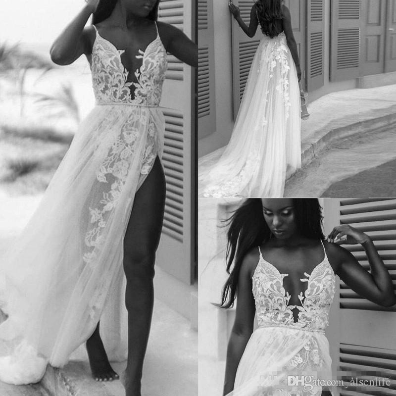 b602439a07e2 Discount Sexy Spaghetti Beach Wedding Dresses 2019 Modest Lace Floral Fairy  Tulle Backless Vintage Bohemian Country Bridal Infromal Dress Photos Of  Dresses ...