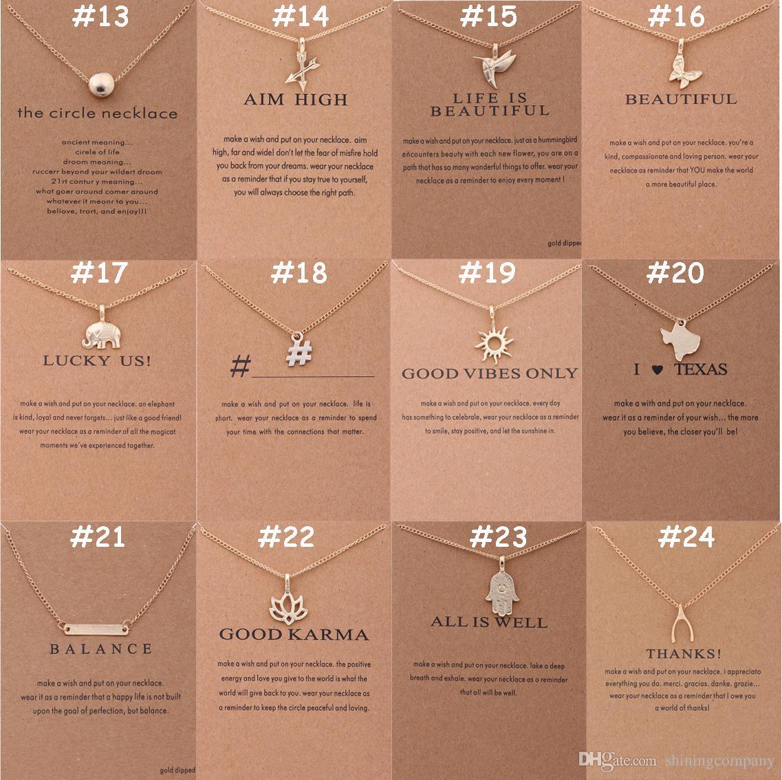 136 تصاميم مجوهرات المختنقون القلائد dogeared مع بطاقة الذهب والفضة مطلي قلادة قلادة هدية صغيرة للأصدقاء تعزيز هدية الأسر