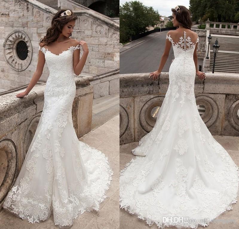 Vintage Mermaid Wedding Dress Full Length Scoop Neck Bridal Gown ...