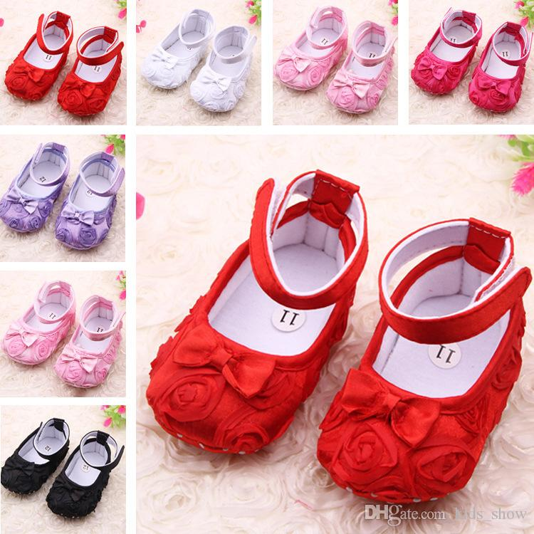 7d15d33e5b08 2019 Rose Flower Baby First Walker Infant Baby Rose Prewalker Baby Girl  Soft Soled Shoes Newborn Party Princess Shoes From Kids show