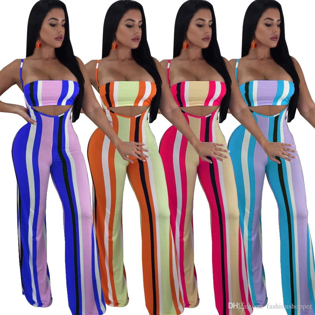 4908a2fe85c Sexy Colorful Striped Jumpsuit New Summer Overalls Spaghetti Strap Two Piece  Set Crop Top Wide Leg Pants Rompers Womens Jumpsuit Colorful Striped  Spaghetti ...