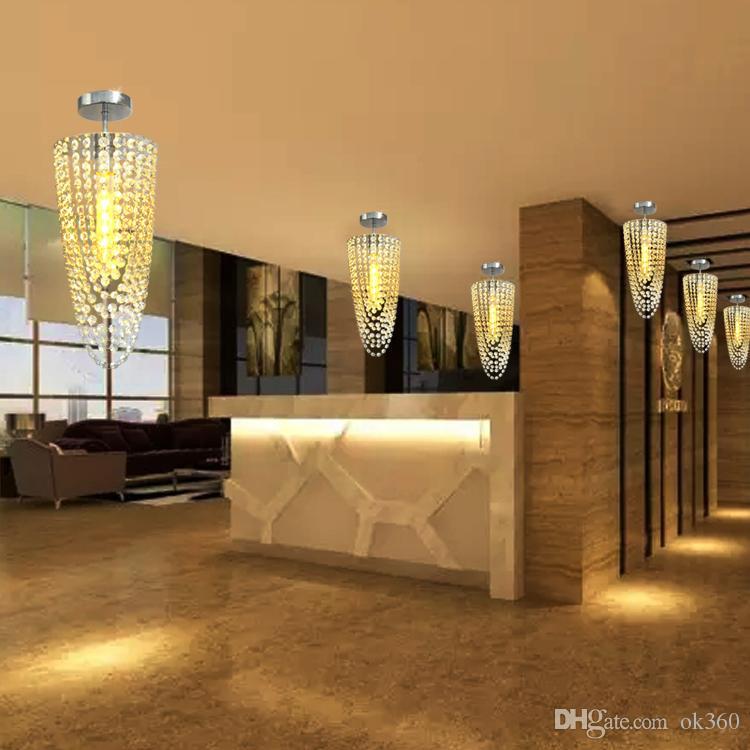 LED 1 light Chrome Modern K9 crystal chandelier lighting D17*H45cm AC110V-256V Crystal ceiling lamp for Entrance aisle corridor