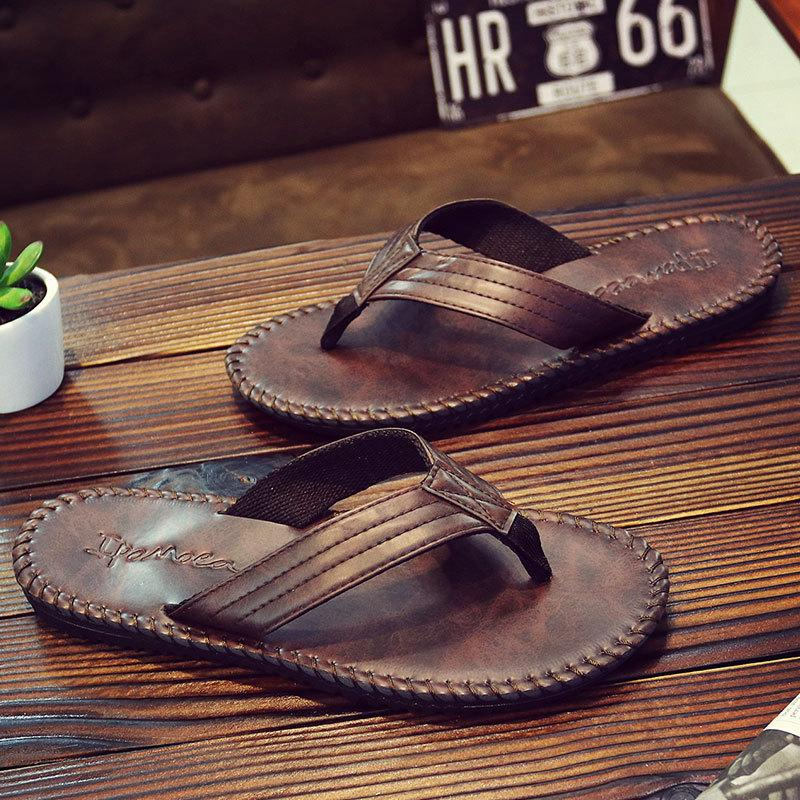 2019 Fashion Pu Leather Men Beach Slippers Fashion Flip Flops With Soft Sole Trendy Breathable Easy To Match Men Summer Shoes 3433 Handsome Appearance Men's Sandals